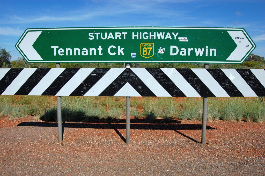 Stuart Highway Road Sign for Darwin and Tennant Creek