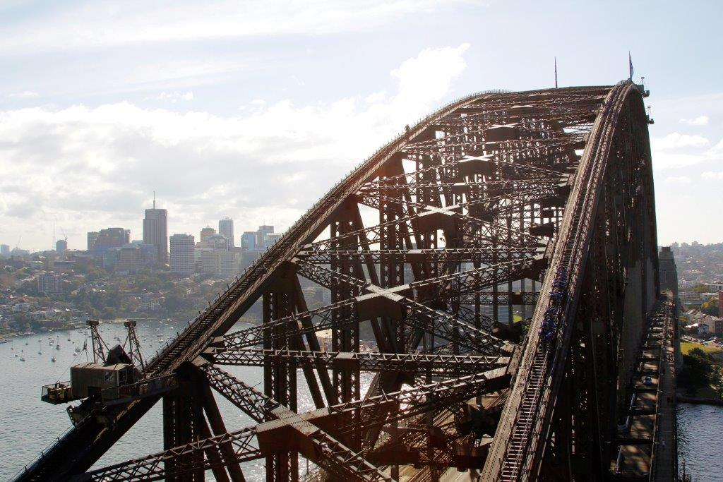 View across Sydney Harbour Bridge from the Pylon Lookout