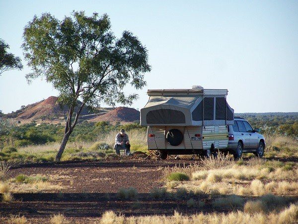 Camper Trailer at Poddy Creek Campground near Winton Queensland Australia in 2011