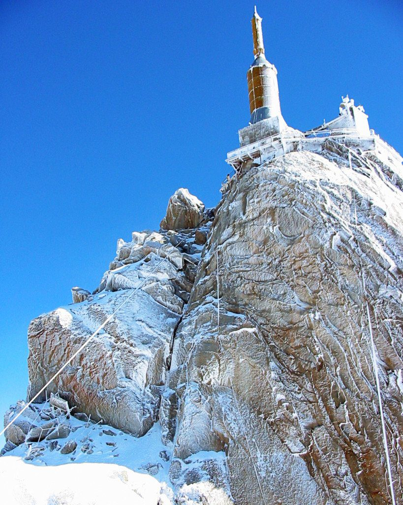 Looking up at the Aiguille de Midi near Chamonix France