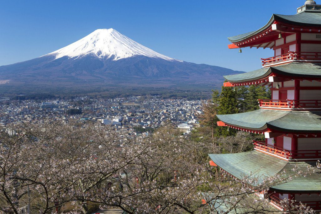 Mt. Fuji viewed from Chureito Pagoda in Japan