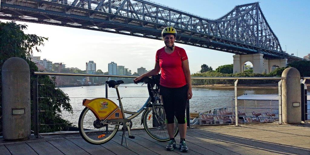 In Front of the Storey Bridge in Brisbane, Australia with my CityCycle Bicycle.