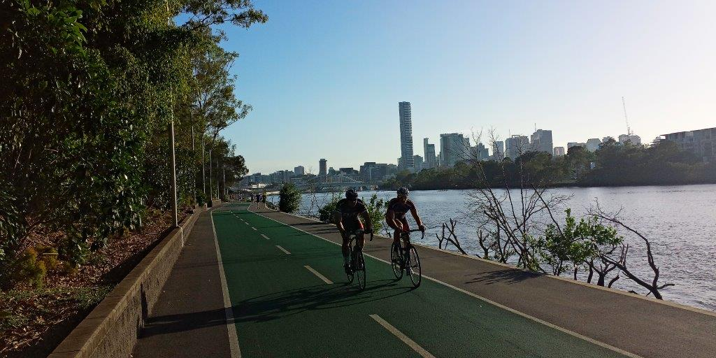 Pleasant Cycling along the Traffic Free Bicentennial Cycleway in Brisbane