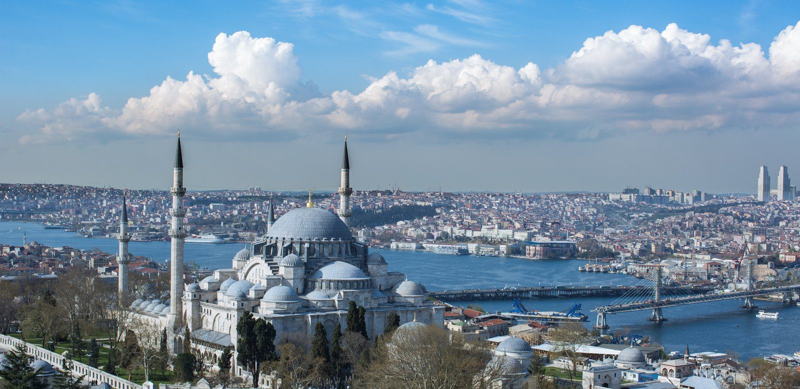 View over the Blue Mosque and Istanbul, Turkey
