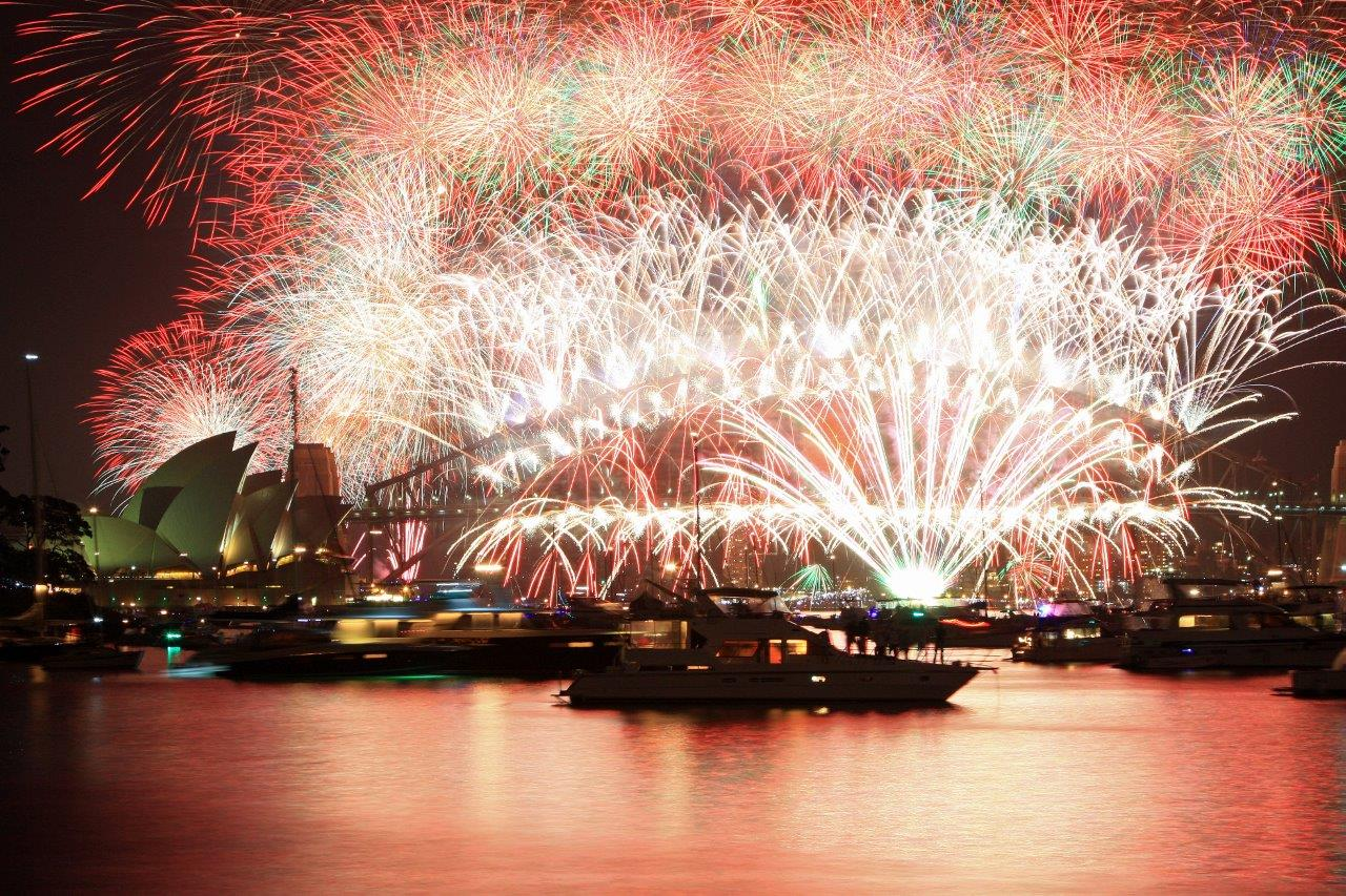 New Years Eve Fireworks on Sydney Harbour Bridge in Australia