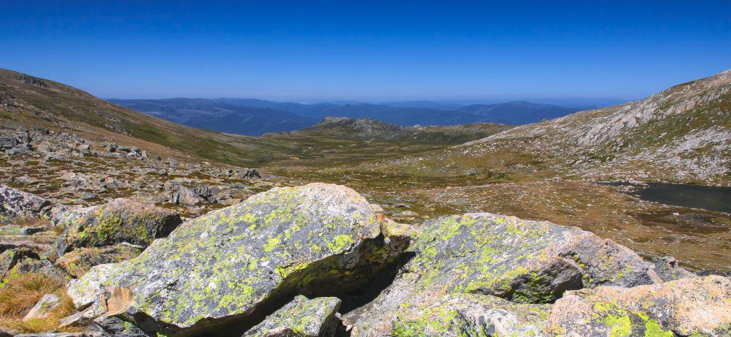 View over the Snowy Mountains near Mt Kosciusko in Australia