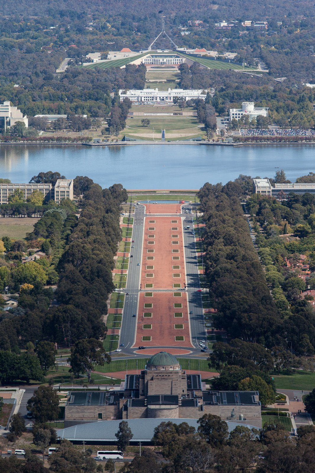 View from the Mt Ainslie Lookout over the Australian War Memorial, Anzac Parade, Lake Burley Griffin and Parliament House
