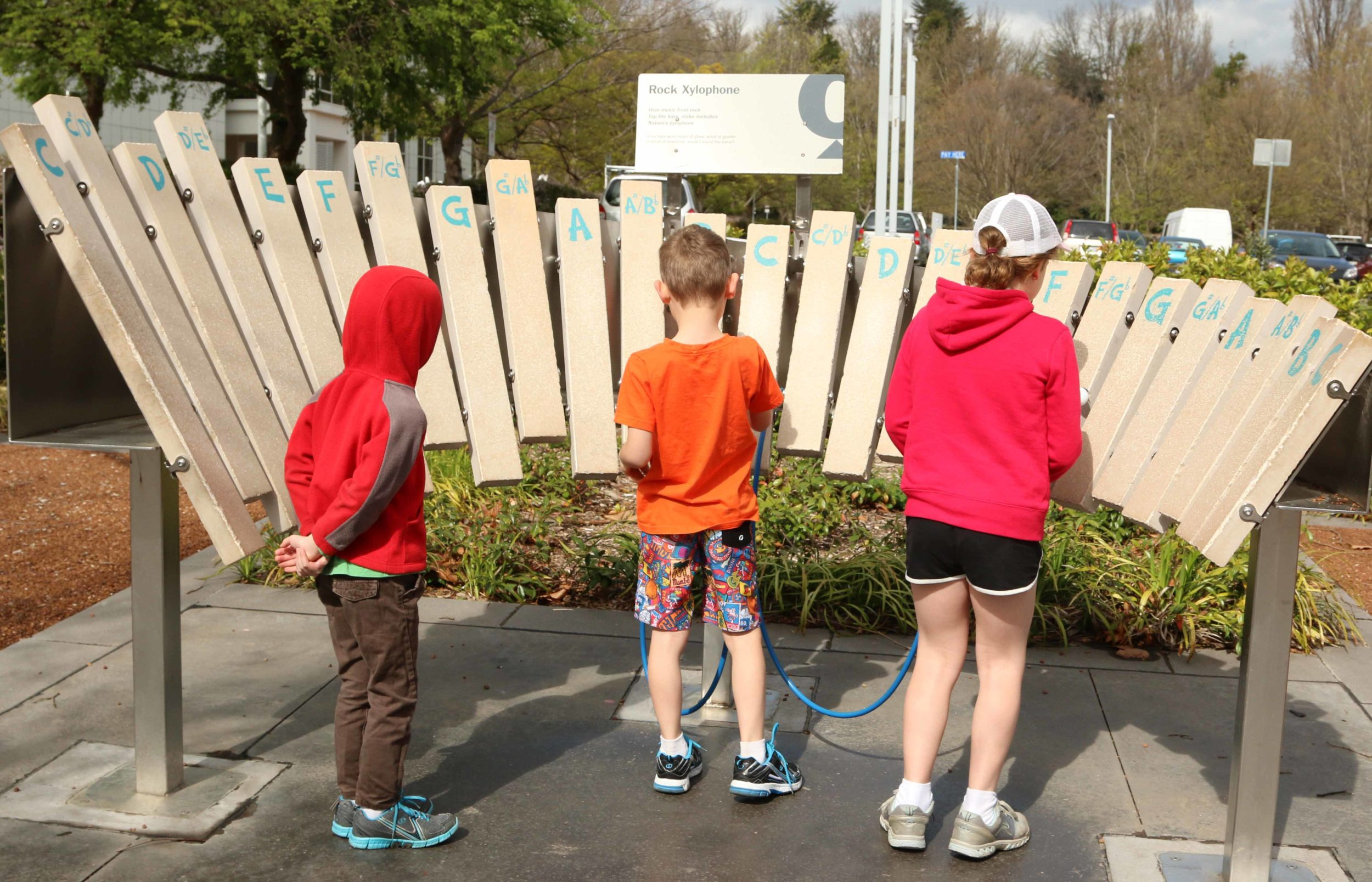 Our Children Playing the Xylophone near Questacon in Canberra Australia