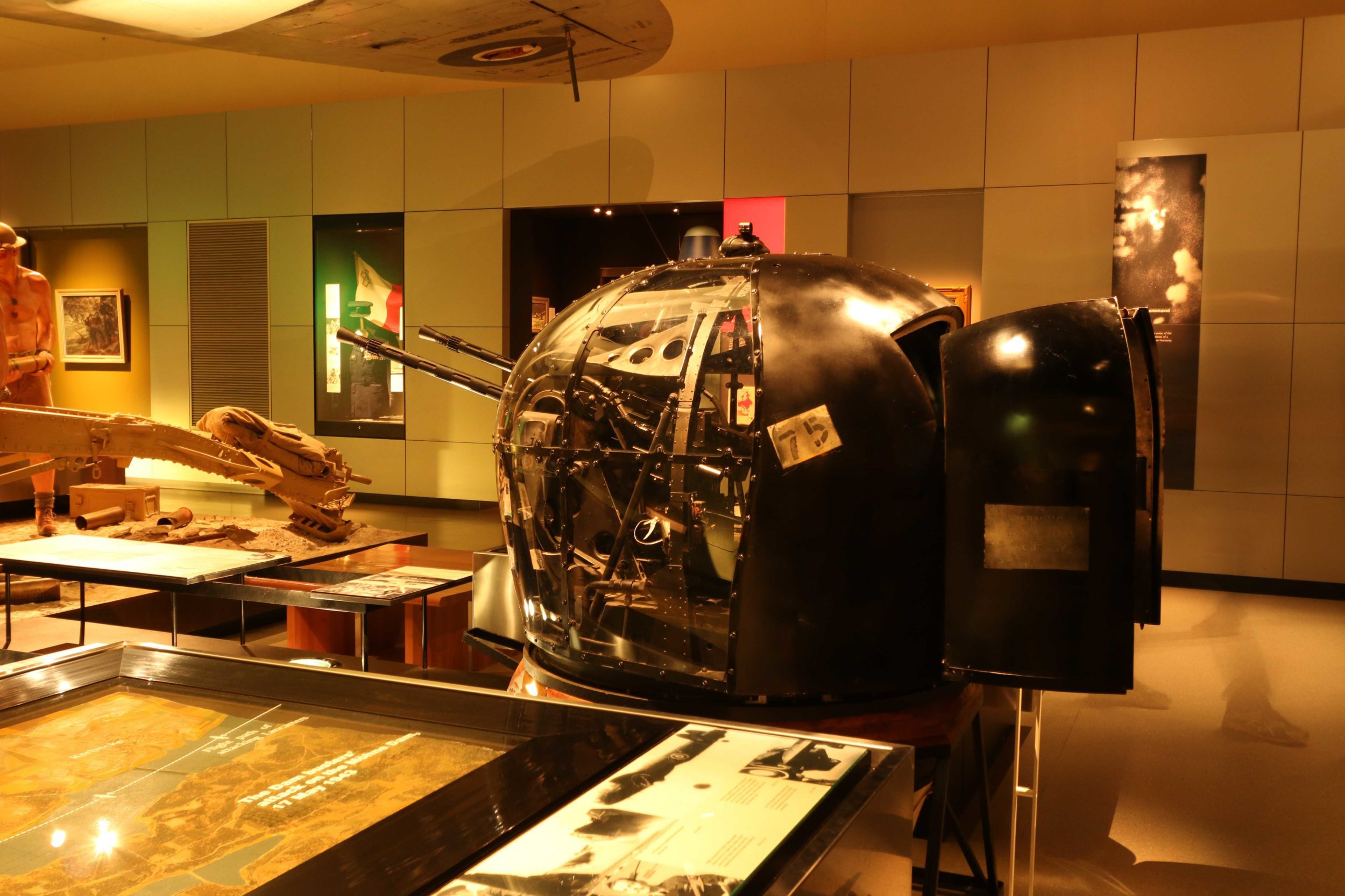 Tail Gunner Turret in the Second World War Exhibition at the Australian War Memorial in Canberra