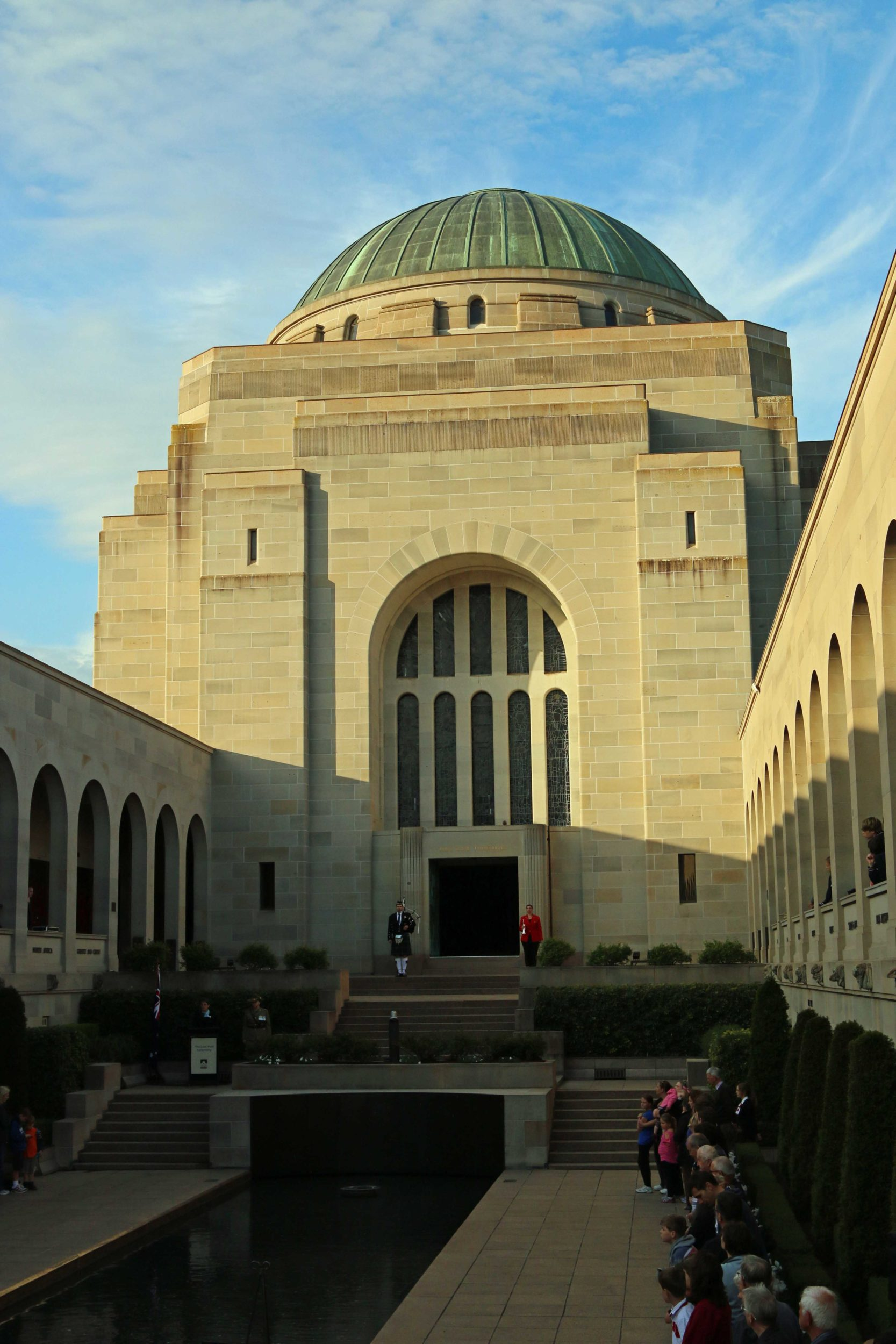 Gathering for the Last Post Ceremony at the Australian War Memorial in Canberra