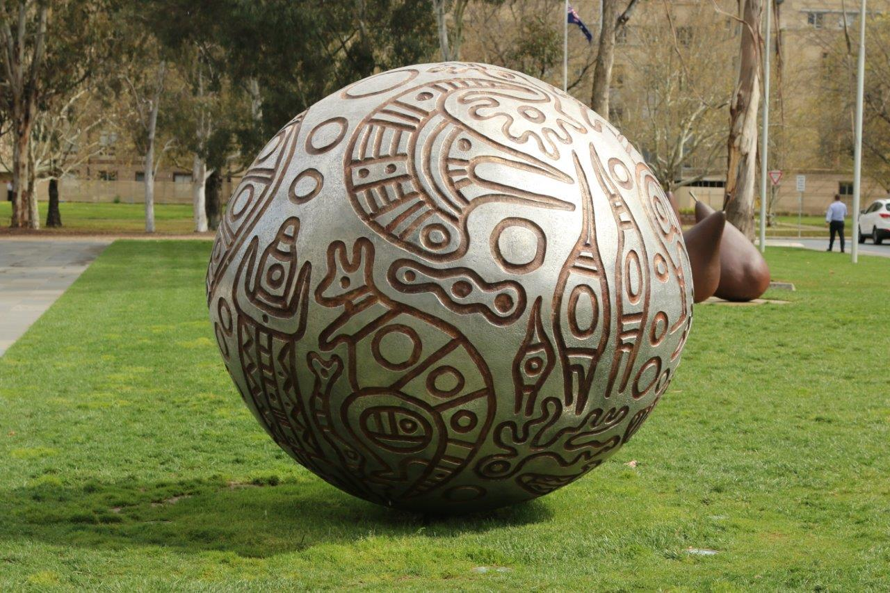 Sculptures in front of the National Gallery of Australia in Canberra