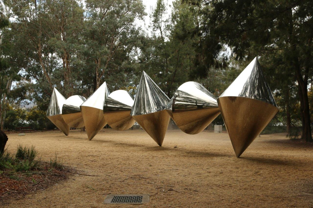 Shiny Sculpture in the Sculpture garden in the national gallery of Australia in Canberra