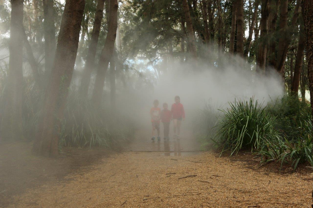 Children in the Mist in the Sculpture garden at the National Gallery of Australia in Canberra