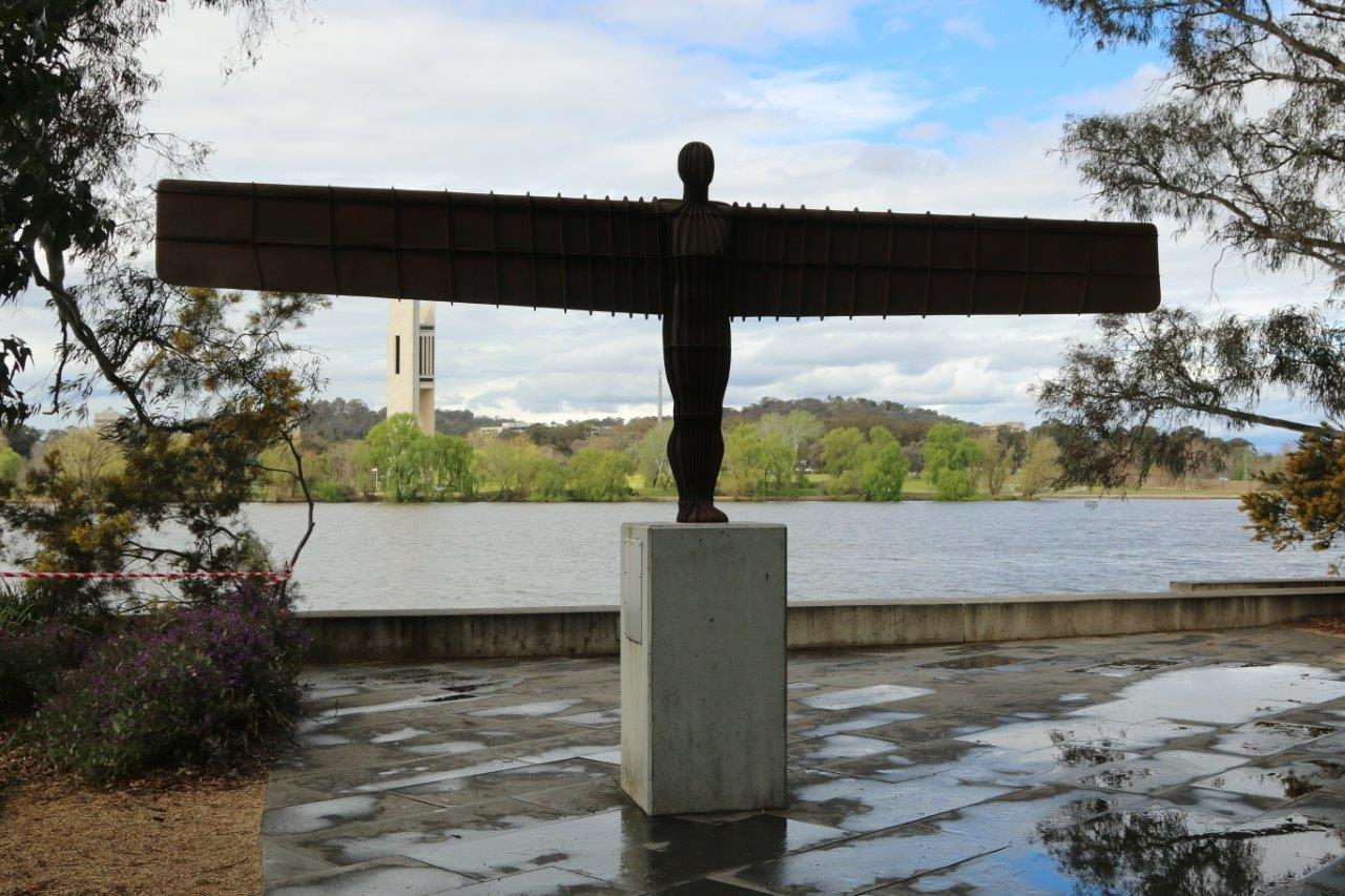 The view from the Sculpture garden over Lake Burley Griffin and the Carillon in Canberra Australia