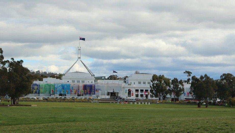 View of Old and new Parliment House in Canberra Australia