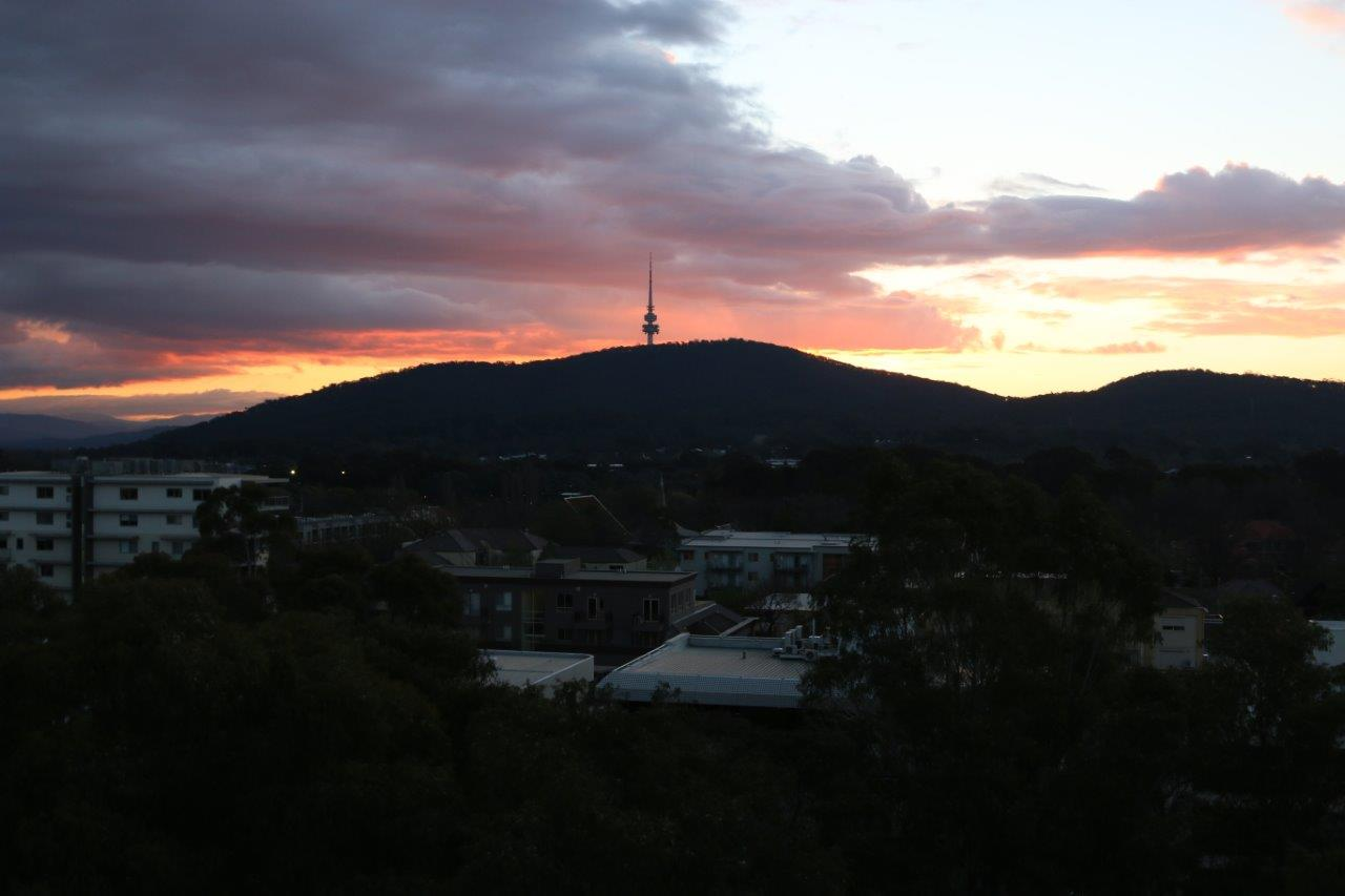 View of Black Mountain Tower at Sunset in Canberra Australia