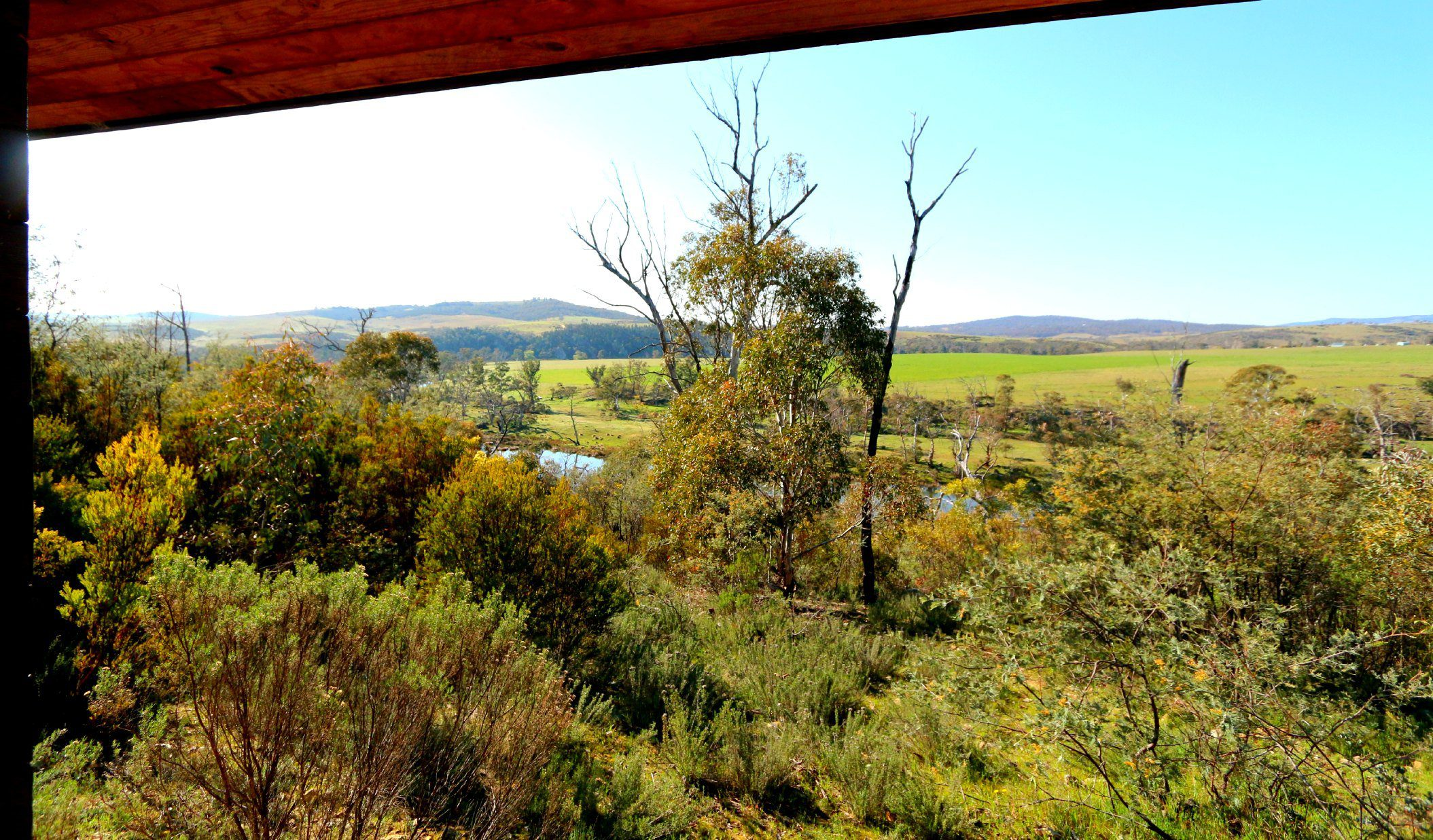 The view from our cabin at Snowy River Cabins near Jindabyne Australia