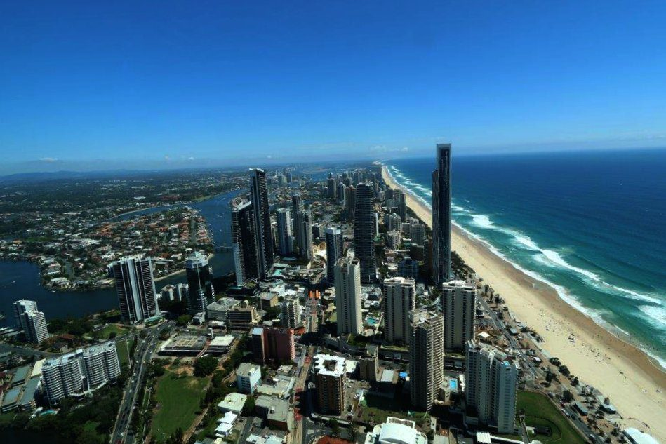 The View Over the Northern Gold Coast from the Q1 Skypoint Observation Deck