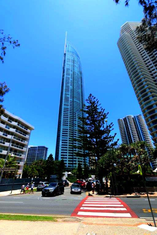 Looking up at the Q1 Tower on the Gold Coast, Australia
