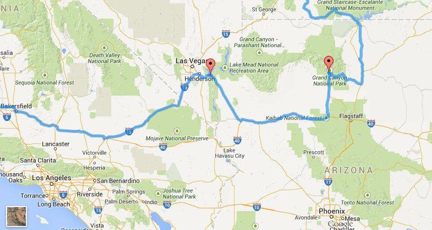 Randy Olsen - California and Arizona Optimised Route Map