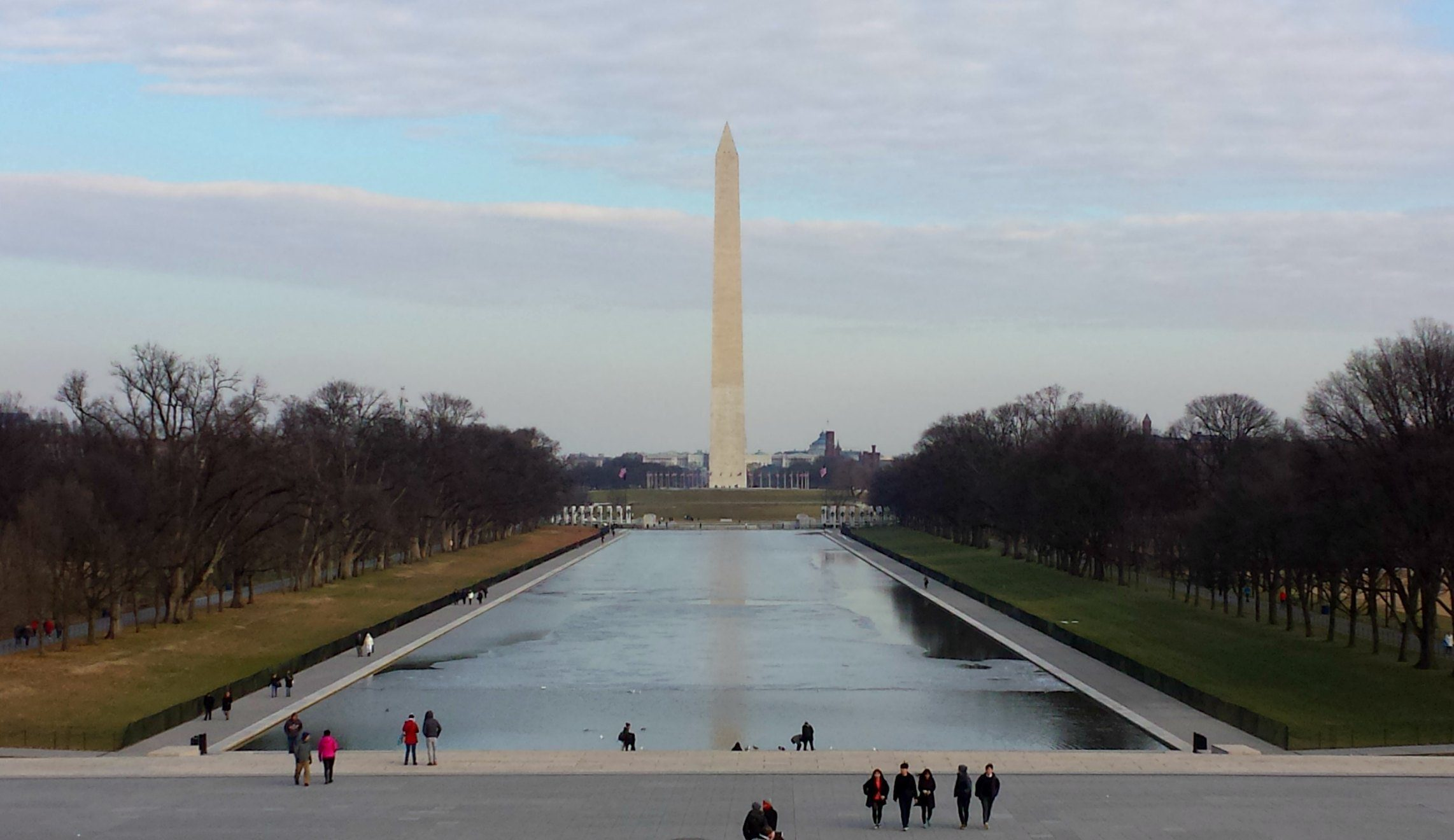 The Washington Monument over the Reflecting Pool in the National Mall, Washington DC