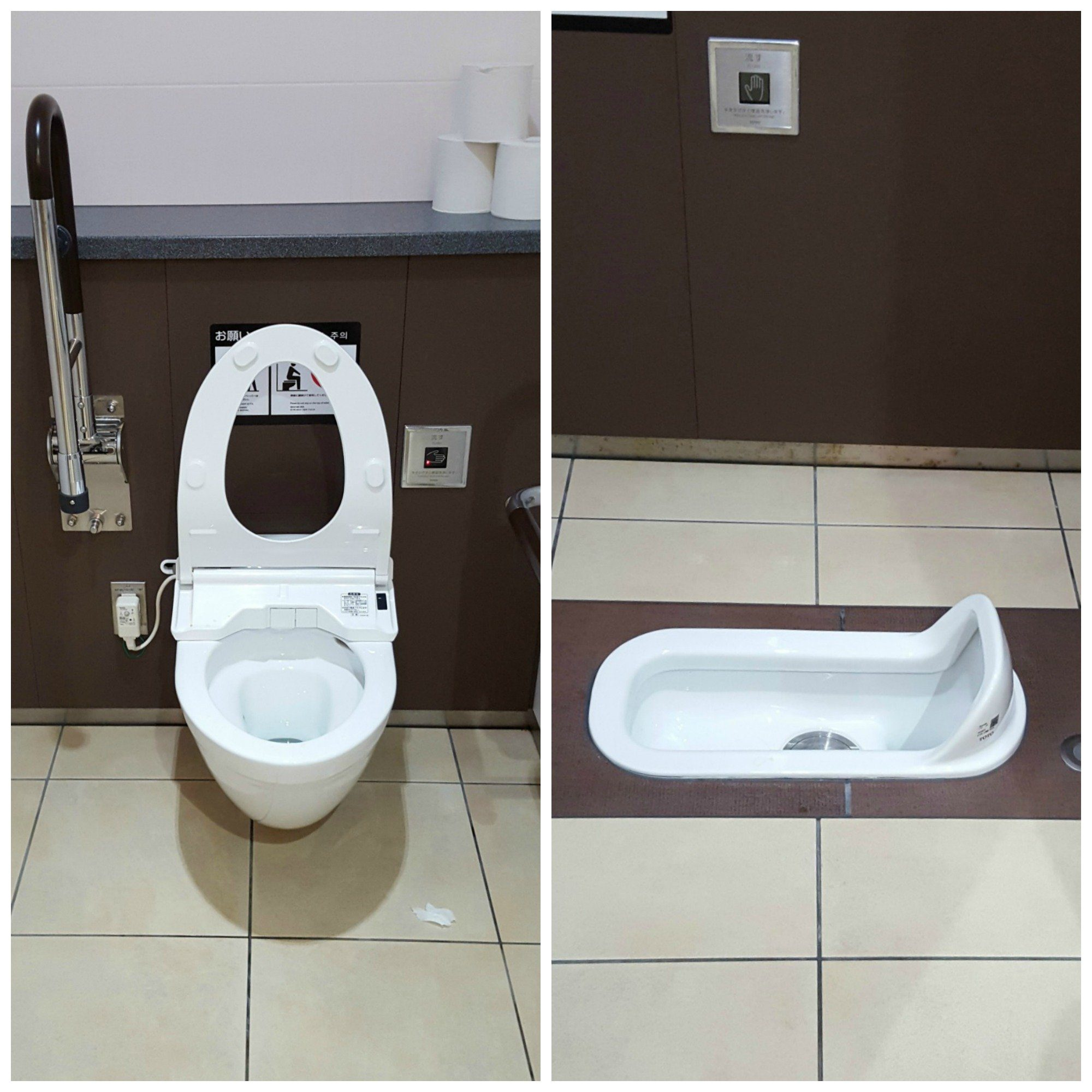 Bidet Toilet and Squat Toilet in Japan