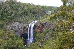 View of both tiers of Ebor Falls on Waterfall Way Australia