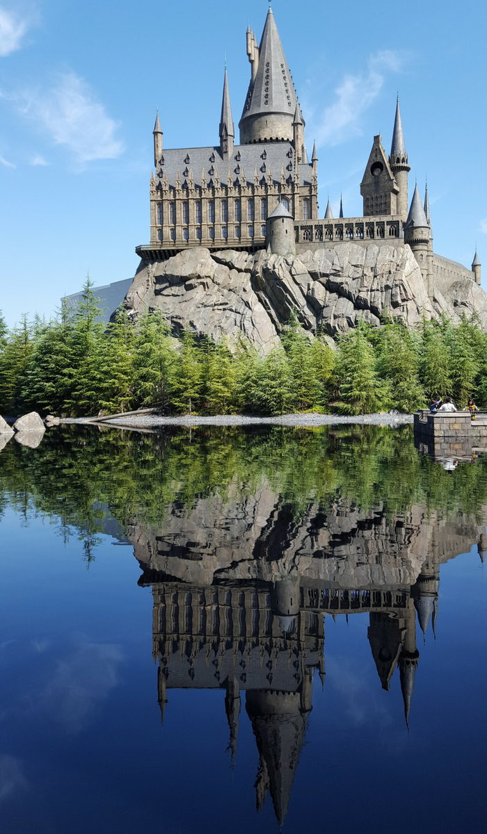Hogwarts School in the Wizarding World of Harry Potter USJ, with the reflection over Black Lake