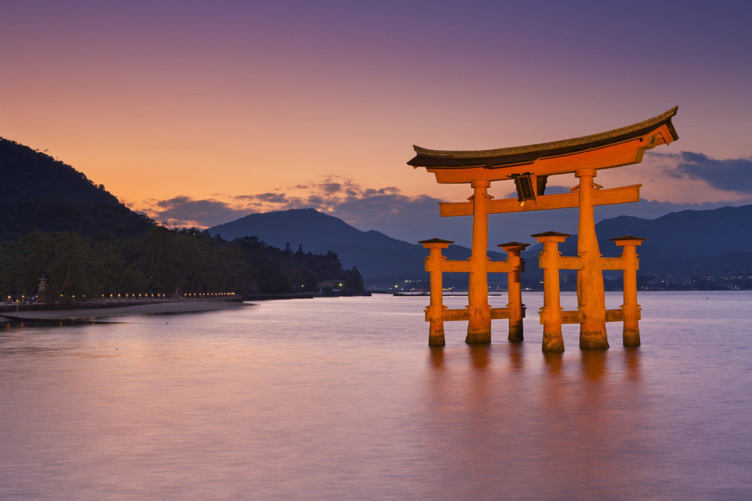 Torii Gate on Miyajima Island near Hiroshima, Japan