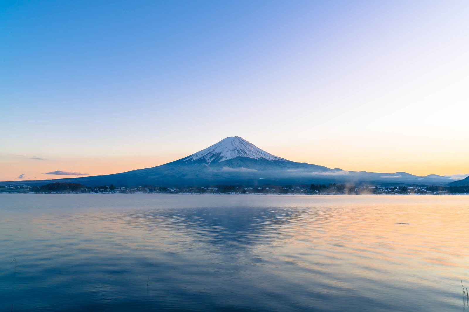 View of Mt Fuji from Lake Kawaguchi in the Five Lakes Region