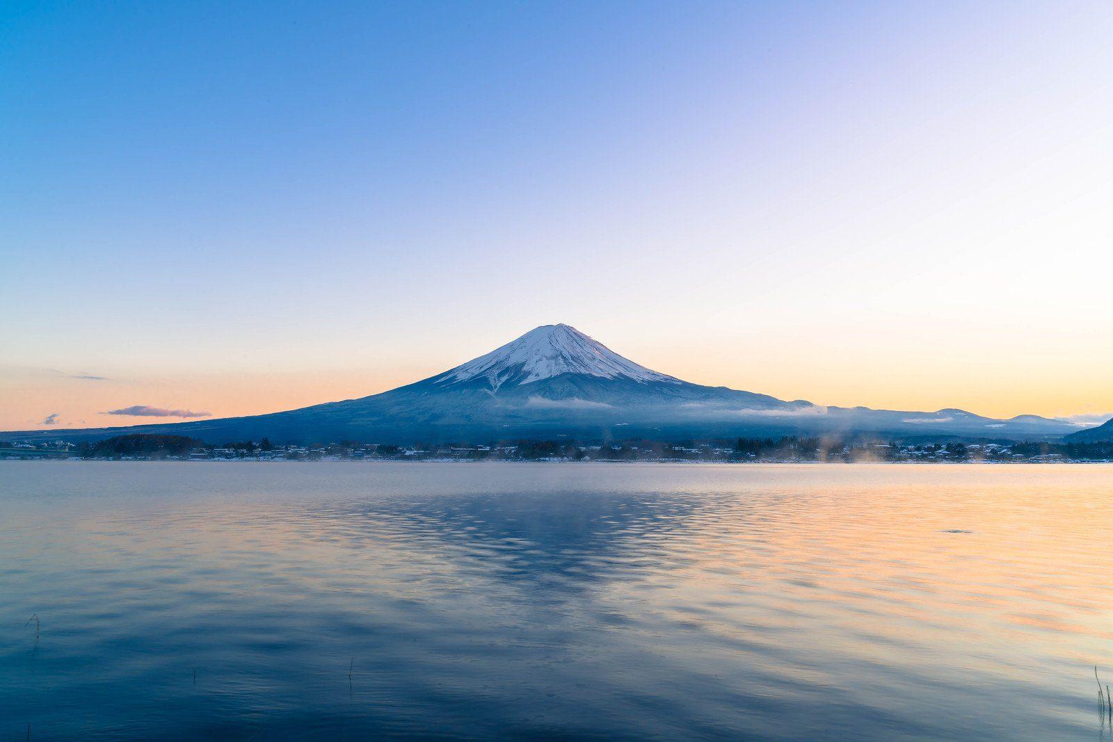 View of Mt Fuji from Lake Kawaguchi in the Five Lakes Region