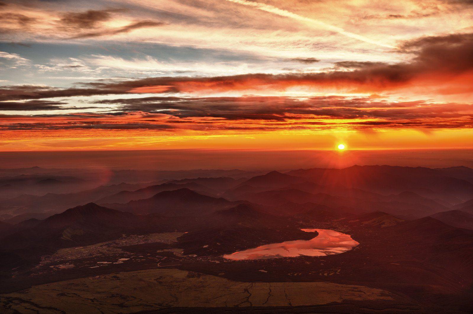 Sunrise View of Lake Kawaguchiko from the Summit of Mt Fuji