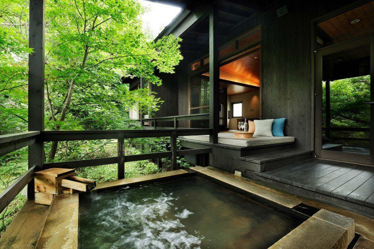 Private Onsen in Room at Kai Aso