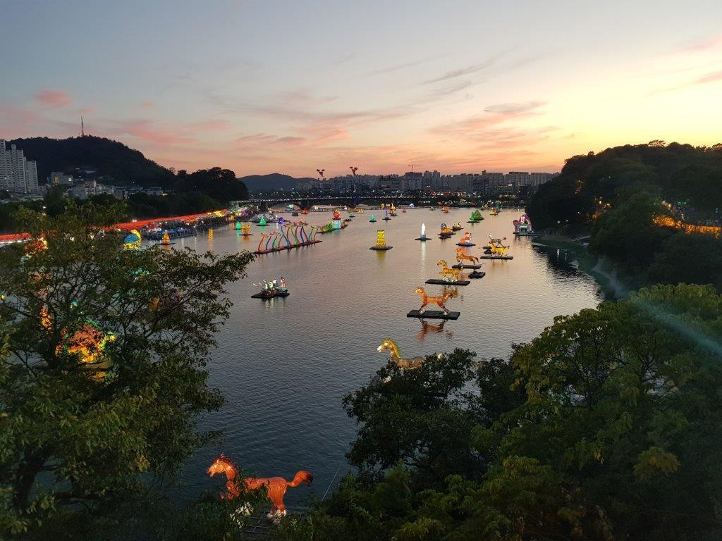 View over the Jinju Lantern Festival in South Korea