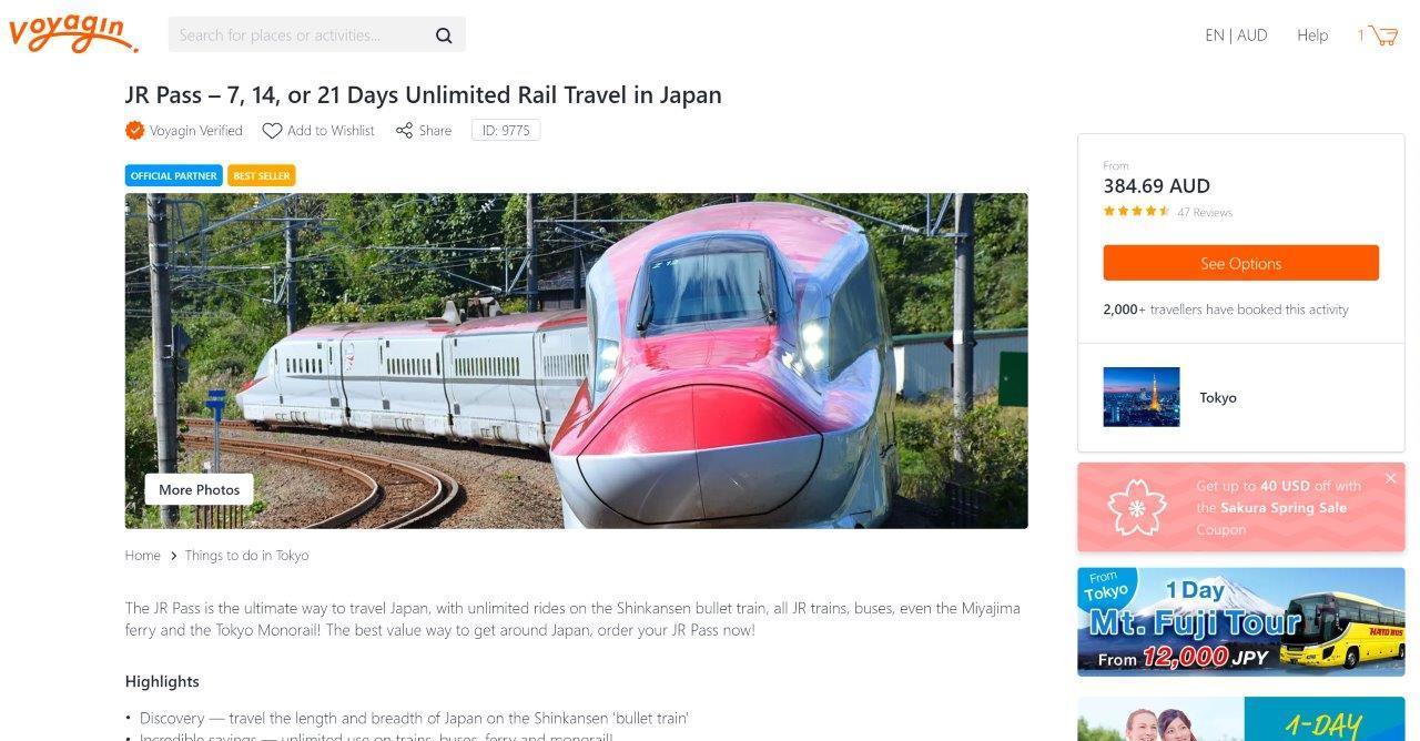 Voyagin Japan Rail Pass Page