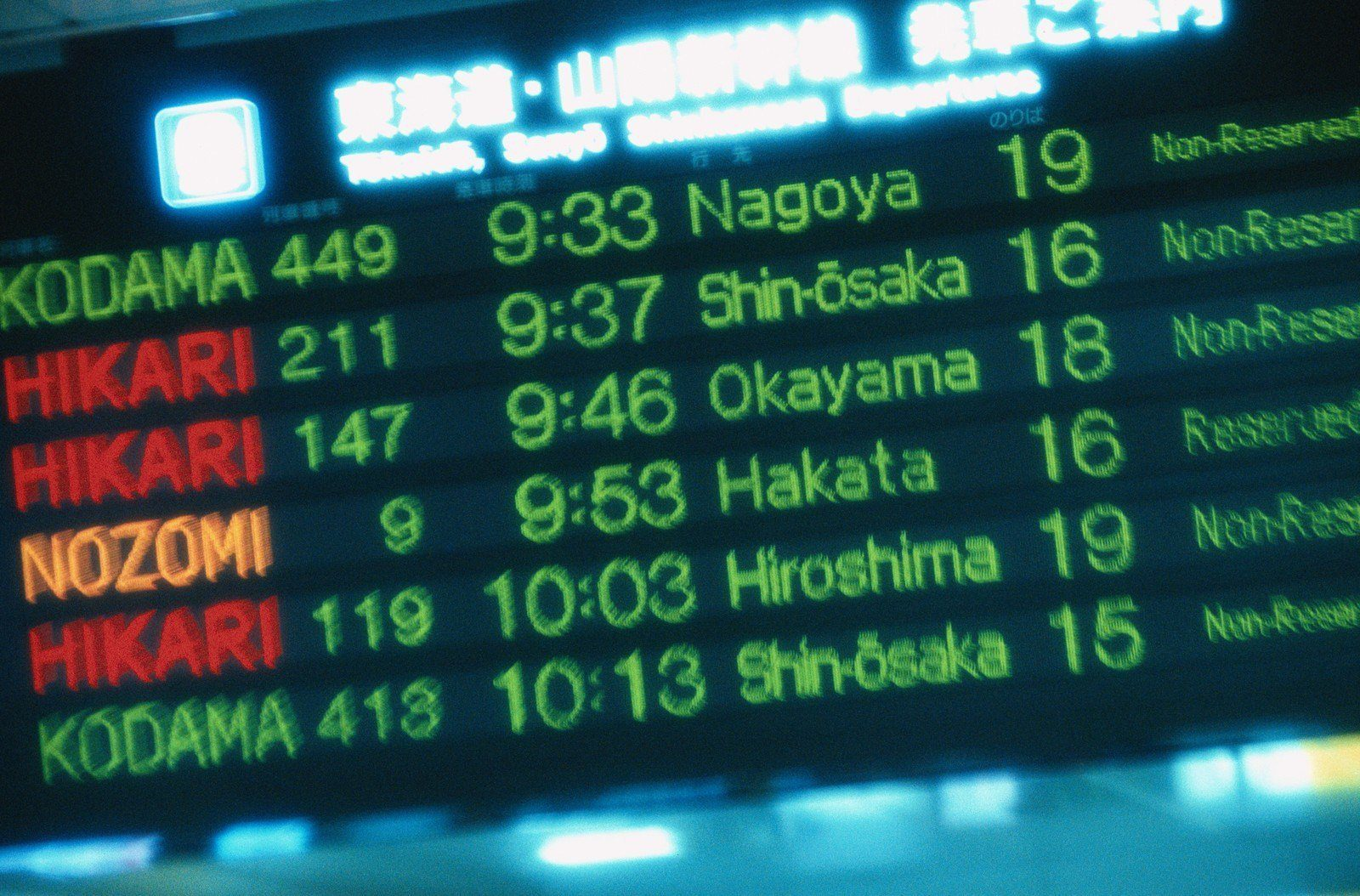Shinkansen Schedule Board in Japan