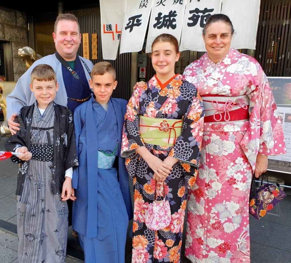 Our family dressed in kimonos in Asakusa!