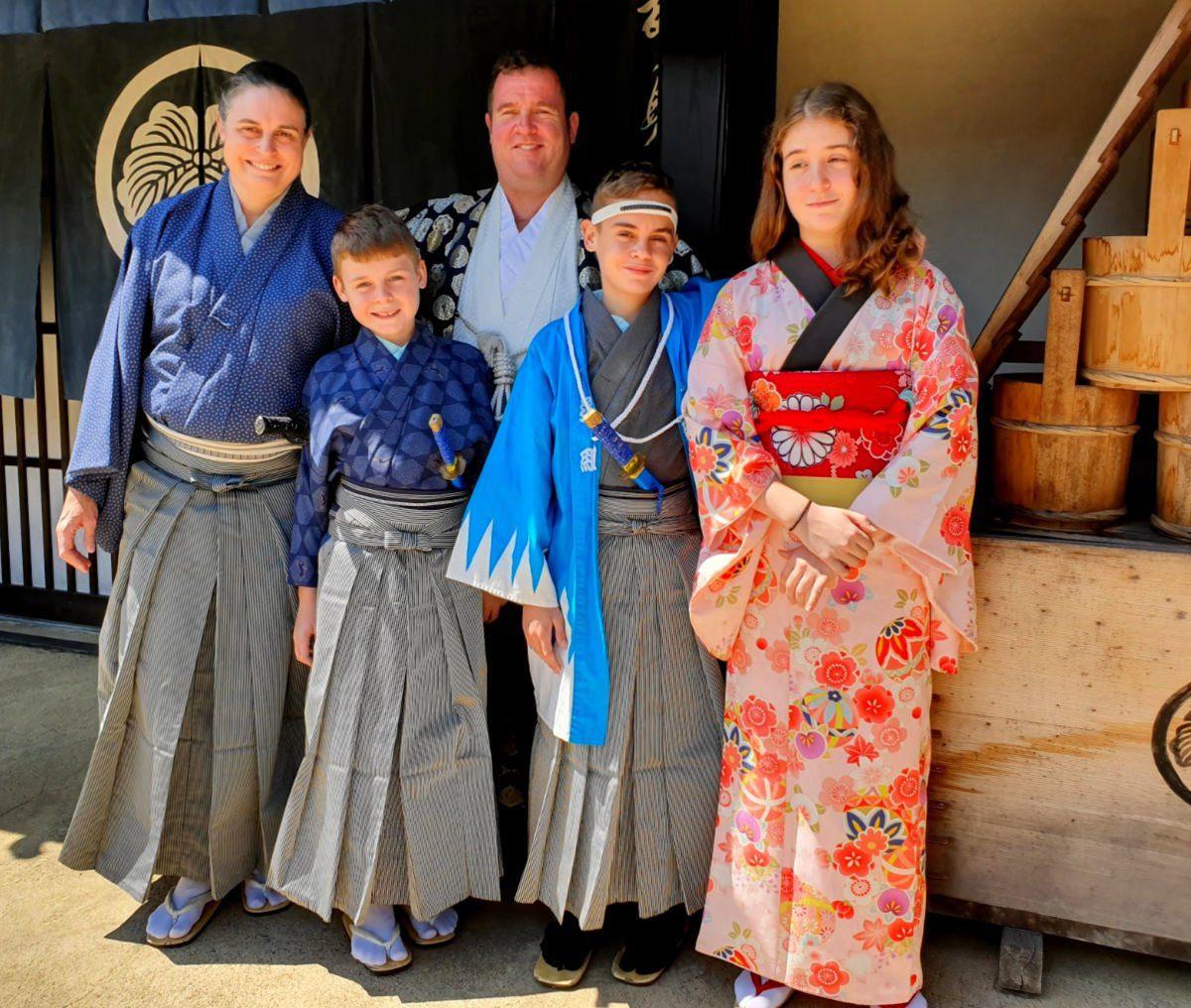 Edo Wonderland Family in Kimonos