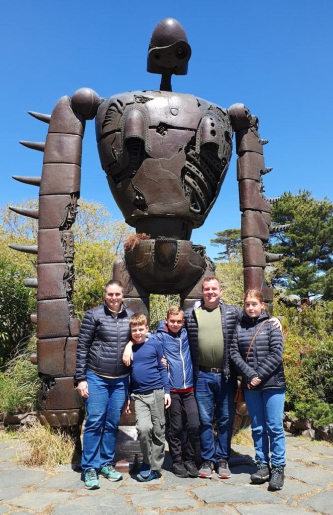 Ghibli Museum on the Roof - our family with the Robot