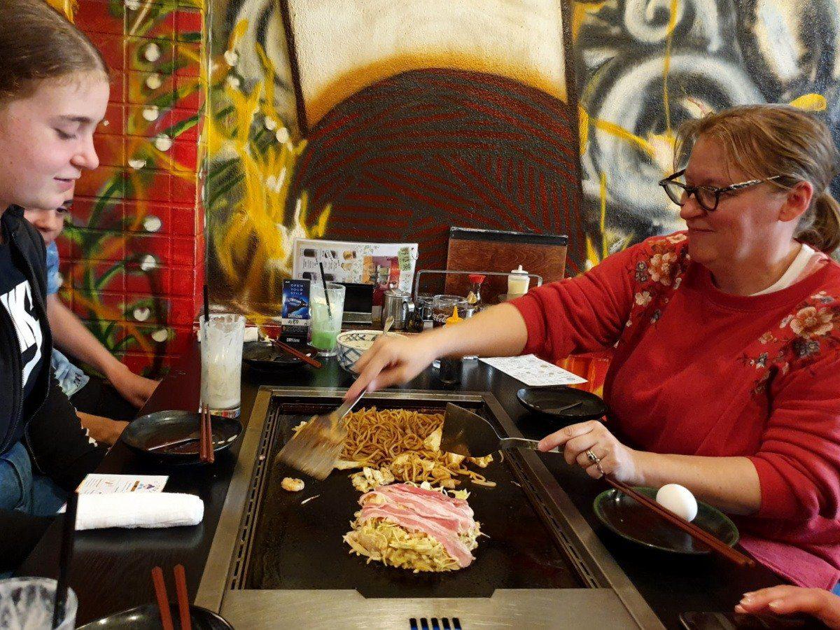 Harajuku Food Tour - Our Guide Lauren Cooking Okonomiyaki for Lunch