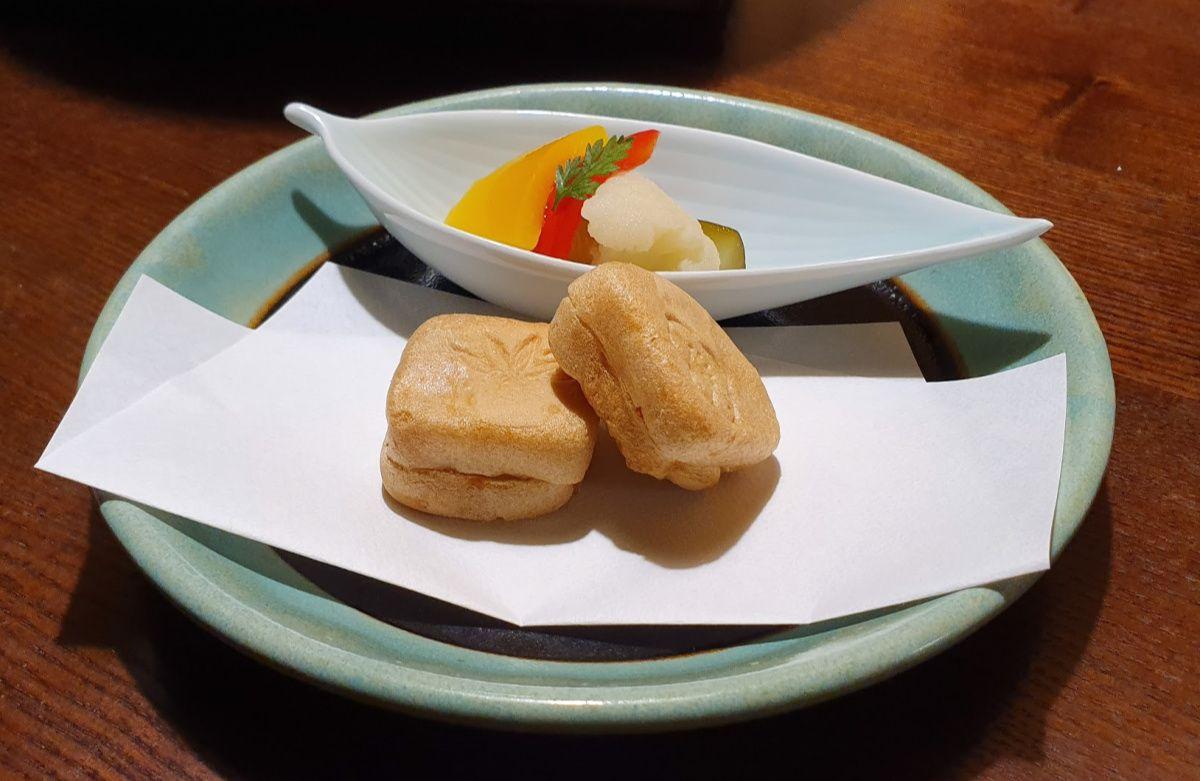 KAI Kinugawa Kaiseki Dinner - Chicken Paste in Wafers with Pickles