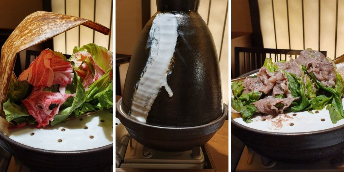 KAI Kinugawa Keiseki Dinner - Steamed Vegetables with Beef Sirloin Collage