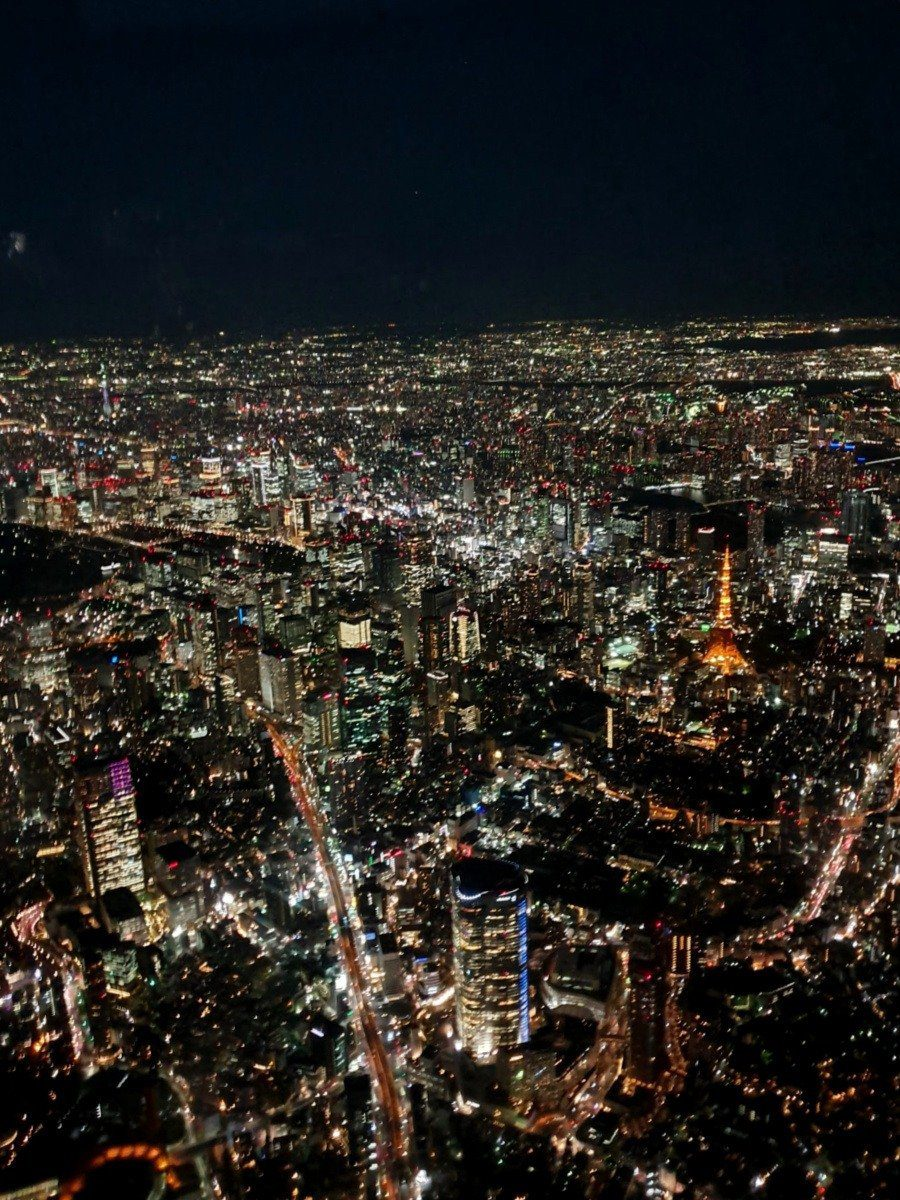 View of Tokyo Tower during our Helicopter Flight over Tokyo