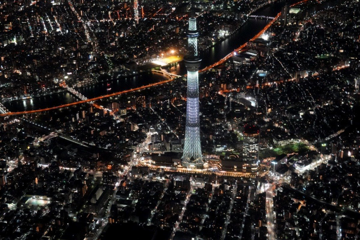 View of the Tokyo Skytree during our Family Helicopter Flight over Tokyo