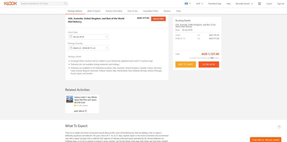 Klook JR Pass 7 Day Order Page - Add to Shopping Cart