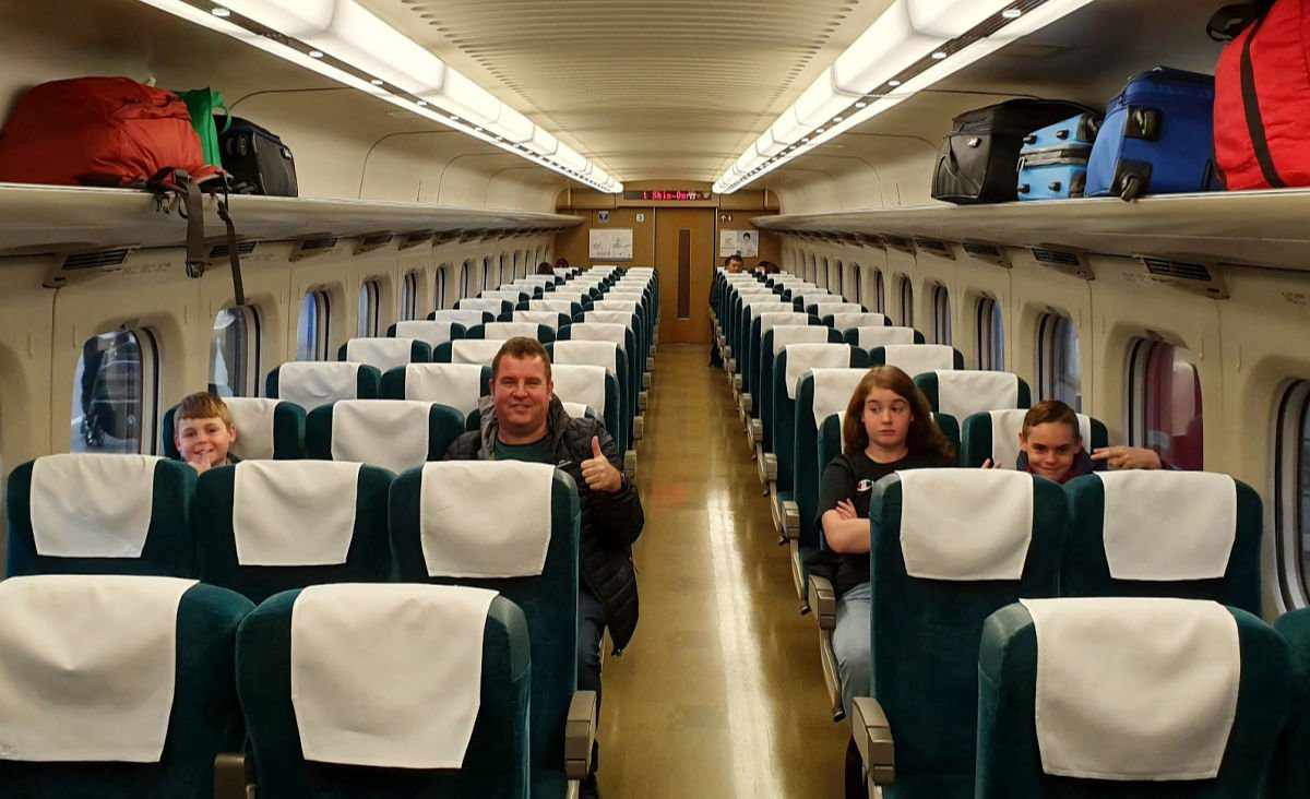 The unreserved carriage from JR Hiroshima Station to Himeji