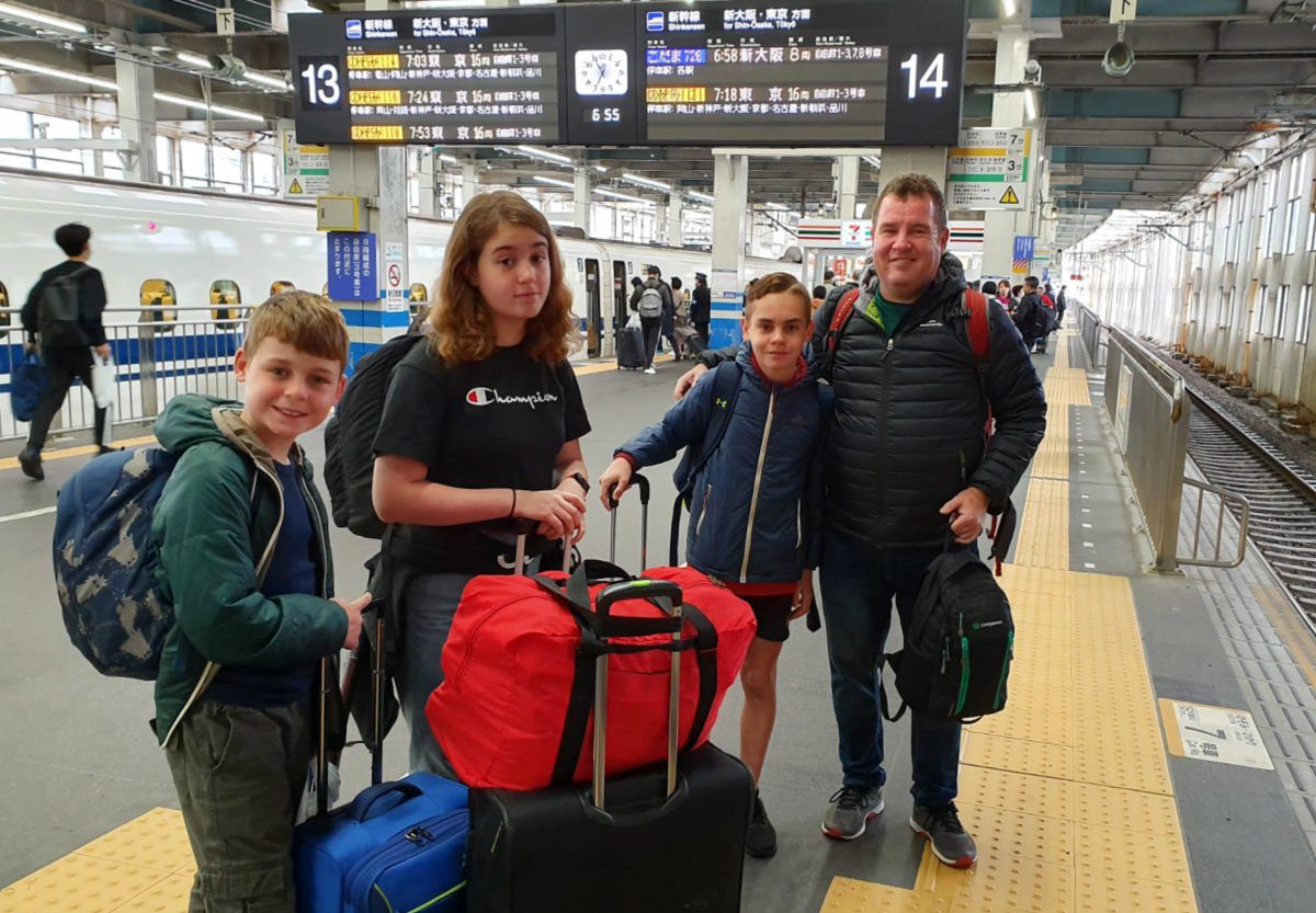 Waiting to catch the Shinkansen at Hiroshima Station