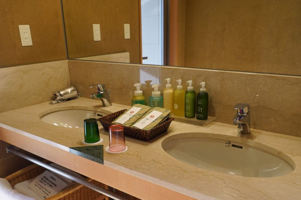 Bathroom vanity and amenities in our room at Kai Matsumoto