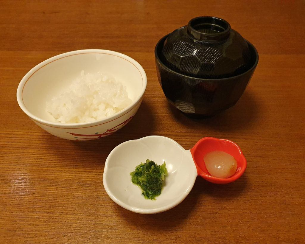 Rice, miso soup and pickled vegetables