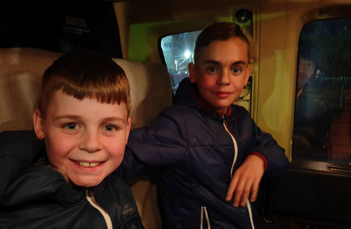 Kids Strapped into the Helicopter and very excited to be ready to go!